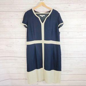 Boden Navy & Cream Cap Sleeves Dress Sz 16